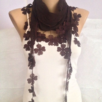 Brown Scarf with Floral Lace Edges -  Transparent Brown Scarf -  Elegant - Romantic - Autumn Flowers - Floral Lace Chunky Scarf