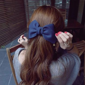 Fashion Women Lovely Big Solid Cloth Bows Hair Clips  for Girls Wedding Party Headwear Hairpins Hair Accessories
