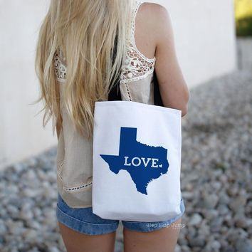 Texas State Canvas Tote Bag | HopSkipJumpPaper