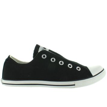 converse all star chuck taylor slim slip black canvas slip on laceless sneaker