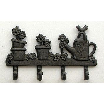 Cast Iron Flower/Watering Can w/4 Hooks