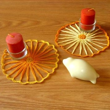 Strawflower Coaster or Small Doily Pair in Yellow and Orange