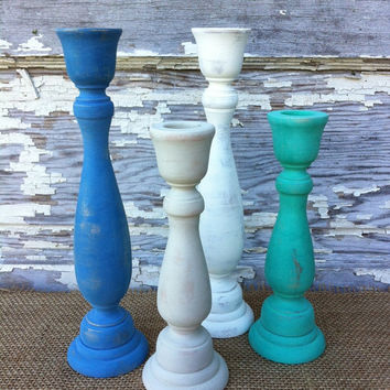 10 Wood Candlesticks Shabby Chic Painted Candlesticks Wedding Candlesticks Wedding Centerpiece Country Rustic Shabby Chic Decor 66 Colors