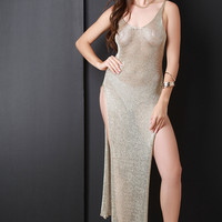 Semi-Sheer Metallic Side Slit Maxi Dress