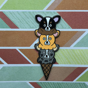 Triple Scooped Corgi Ice Cream Enamel Pin | Dogs | Dessert | Cute | Summer Food | Food | Tri Color Corgi | Red Corgi | Merle Corgi | Yummy |