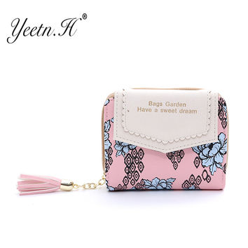 2016 New Fashion Lovely Flower Wallet Female Leather Small Change Clasp Purse Money Card Coin Holder  Girls Women Purses M4215