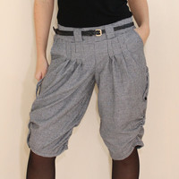 Warm Capri pants Cargo shorts Black White Houndstooth Pants