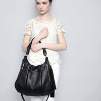 Black Leather Bag  Lotus Bag purse shoulder by opellecreative