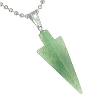 Amulet Charm Arrowhead Green Quartz Good Luck Powers Pendant 18 Inch Necklace