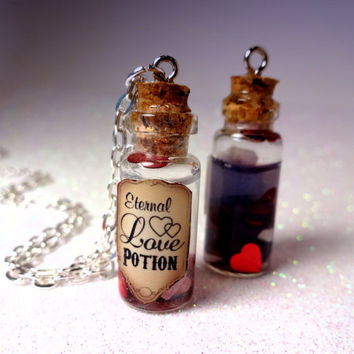 One Custom Eternal Love Potion  Glass Bottle Cork by LittleGemGirl