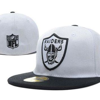Oakland Raiders New Era 59fifty Nfl Football Hat White Black