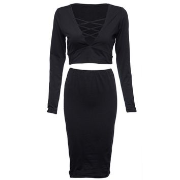 Stylish Plunging Neck Long Sleeve Criss-Cross Crop Top + Pure Color Bodycon Midi Skirt Two Piece Dress For Women