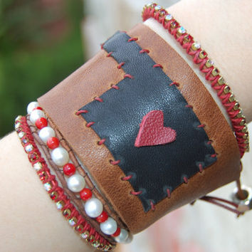 Oklahoma Tornado Relief.  Oklahoma Leather Cuff. I Love Oklahoma Cuff.  Free Shipping.  Donation.