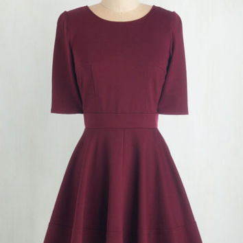 Short Length Short Sleeves Fit & Flare Dote Worry About It Dress in Wine