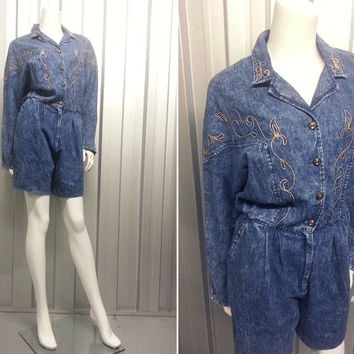 Vintage 80s Acid Wash Denim Playsuit Womens Romper Play Suit Country Western Cotton Jumpsuit Short Dungarees Jump Suit Gold Trim New Wave