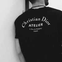 Dior New Fashion Shirt Christian Dior Top Word Tee Women Men Tee Black