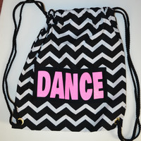 Hot Pink Glitter DANCE on Black and White Chevron Backpack Bag