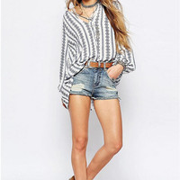Chic Women's Ethnic Stripes Shirts Blouse