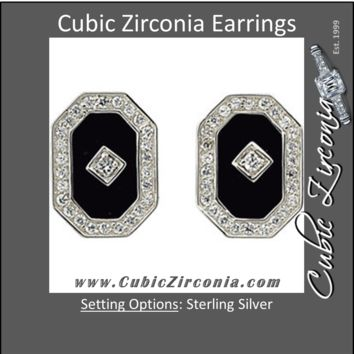Cubic Zirconia Earrings- 0.56 Carat CZ and Genuine Black Onyx Stud Earring Set
