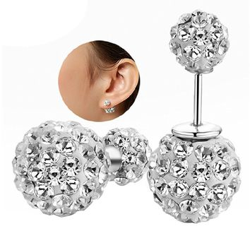 YiYi Operation Crystal Double Sided Ball Silver Plated Stud Tribal Earrings Women's Engagement Gift