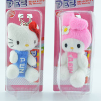 Hello Kitty Easter Pink & Blue Pez Key Chains with Candy