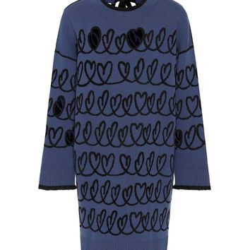 Intarsia wool-blend dress