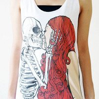 SML  Skull Kiss Girl Shirt Punk Rock Shirts Skull by cottonclick