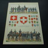 Swiss pre WWI army uniforms and flags poster 1905 antique French print of Swizerland uniform flag cavalry infantery plus map Suisse colour