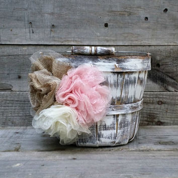 Rustic Flower Girl Basket/Bucket, Rustic Wedding Decor, Flower Girl Basket, Shabby Chic Flower Girl Basket