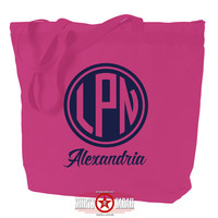 LPN Tote Bag - Personalized Nurse Totes Bags For Nursing Nurses Monogram Medical Custom Zippered Zip