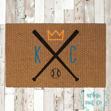 Kansas City Royals Coir Doormat, Decorative Area Rug, Hand Painted Hand Woven, Housewarming Gift