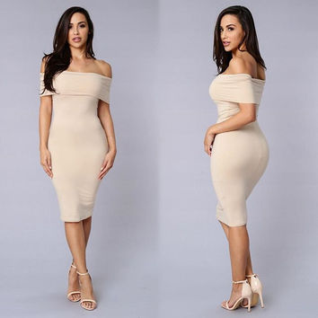 Coffee Bodycon Mini Dress