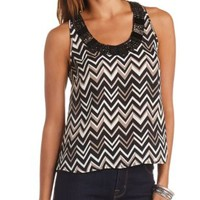 Beaded Chiffon Swing Tank Top by Charlotte Russe