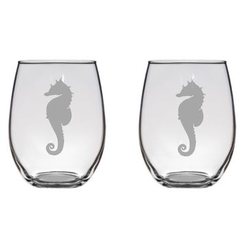 Sea Horse Engraved Glasses, Ocean, Sea, Beach, Cute, Gift Free Personalization