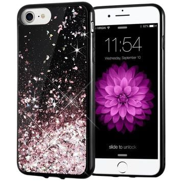 iPhone 7 Case, iPhone 7 Glitter Case Caka [Starry Night Series] Bling Flowing Floating Luxury Liquid Sparkle TPU Bumper Glitter Case for iPhone 6/6S/7/8 (4.7 inch) - (Rosegold)