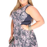 Sexy Navy Pink Floral Print Sleeveless Summer Plus Size Dress