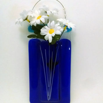 Fused Glass Pocket Vase - Wall Vase - Cobalt Blue - Wall Hanging - Home Decor - Flower Vase - Bud Vase - Pen/Pencil Holder-Housewarming Gift