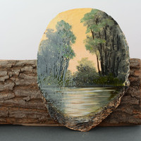 Painting handmade on wood cut Expanse creative extraordinary beautiful present