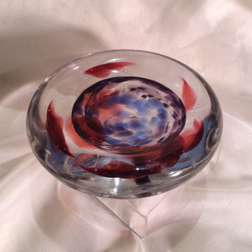 Glass Paperweight Bowl, Hand Blown Glass Art.  One of a Kind Paperweight.
