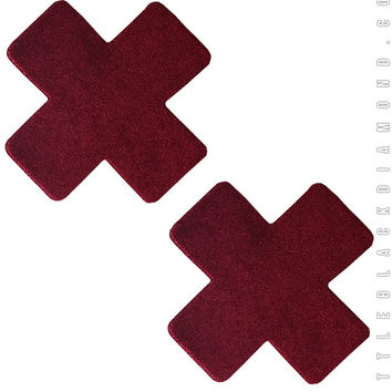 Cross Pasties in Burgundy Velvet