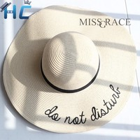 Foldable womens  Wide Brim Straw Beach Hats  With Embroidery