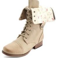 Floral Print Lace-Up Combat Boot by Charlotte Russe - Natural