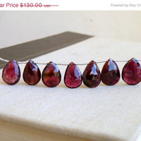 42% Off Outstanding Pink Watermelon Tourmaline Gemstone Briolette Faceted Pear 15.5 to 17mm 7 beads