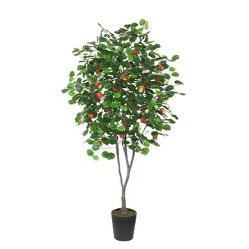 6.5' Decorative Potted Artificial Red Apple Tree with Two Tone Green Leaves