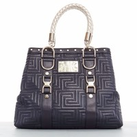 new GIANNI VERSACE COUTURE Greca quilted black leather gold braid large tote bag