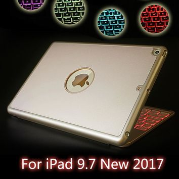 High-Quality 7 Colors Backlit Light Wireless Bluetooth Keyboard Case Cover For iPad 9.7 New 2017 A1822 A1823 + Film + Stylus