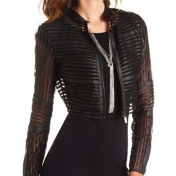 Mesh Striped Faux Leather Cropped Jacket by Charlotte Russe - Black