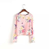 Casual Floral Button Back Long Sleeve Blouse