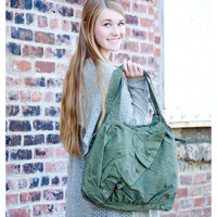 Walk In The Park Army Green Canvas Purse - Army Green