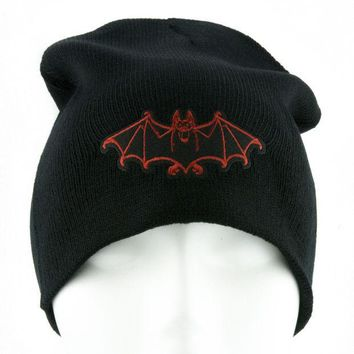 ac spbest Red Vampire Bat Beanie Occult Halloween Clothing Knit Cap